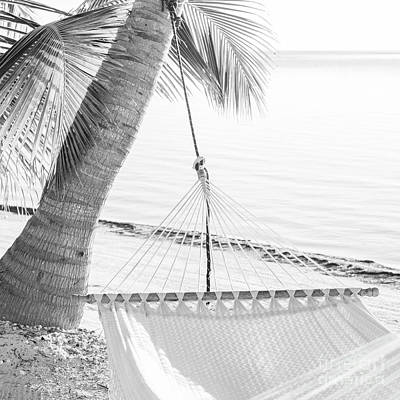 Photograph - Peaceful Vacation Hammock Black And White by Tim Hester