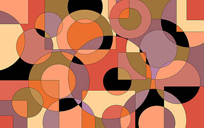 Digital Art - Peach Circle Abstract by Val Arie