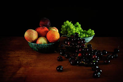 Outerspace Patenets Rights Managed Images - Peaches, Grapes and Cherries Royalty-Free Image by Cassi Moghan