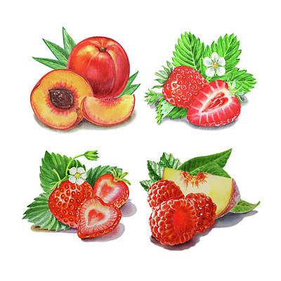 Painting - Peaches Strawberries Raspberries Watercolor  by Irina Sztukowski