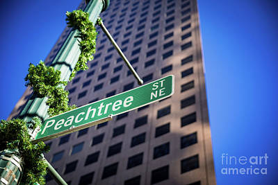 Photograph - Peachtree Street Sign Downtown Atlanta Christmas by Sanjeev Singhal