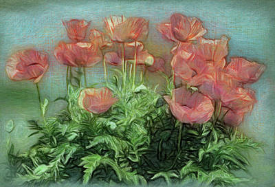 Digital Art - Peachy Poppies In The Garden by Leslie Montgomery