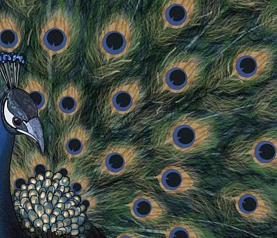 Wall Art - Digital Art - Peacock  Digital Change4 by Joan Stratton