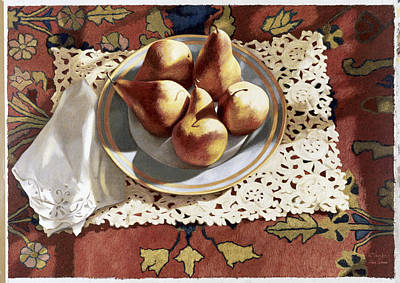 Painting - Pears In A Bowl On An Oriental Rug By by Helen Vaughn