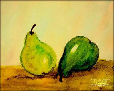 Painting - Pears In Watercolors by MaryLee Parker