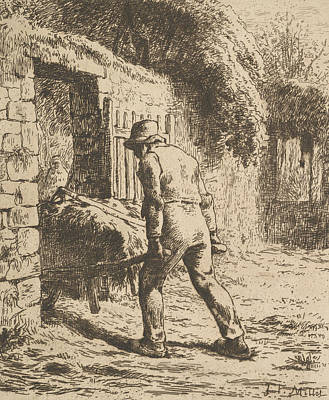 Relief - Peasant Pushing A Wheelbarrow by Jean-Francois Millet