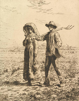 Relief - Peasants Going To Work by Jean-Francois Millet