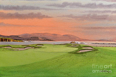Sports Paintings - Pebble Beach Golf Course Hole 17 by Bill Holkham