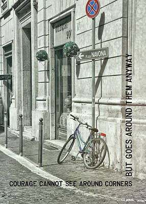 Pedal Through Rome Quote Art Print by JAMART Photography