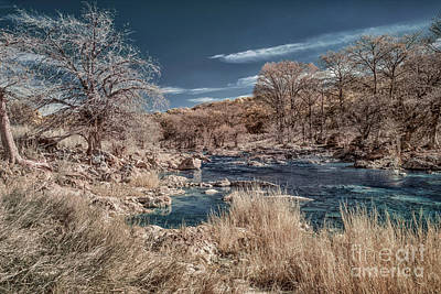 Cargo Boats Rights Managed Images - Pedernales River in Infrared Royalty-Free Image by Norman Gabitzsch
