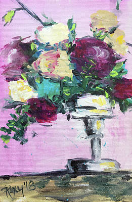 Contemporary Painting - Pedestal Roses by Roxy Rich