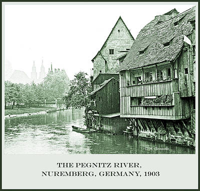 Photograph - Pegnitz Canal, Nuremberg, Germany, 1903, Vintage Photograph by A Gurmankin