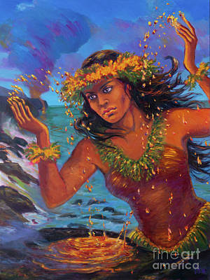 Painting - Pele Plays with Lava by Isa Maria