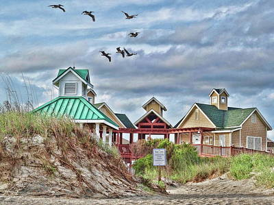 Photograph - Pelicans Over St. James Beach Club by Don Margulis