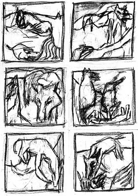 Digital Art - Pencil Squares Black Canine by Artist Dot