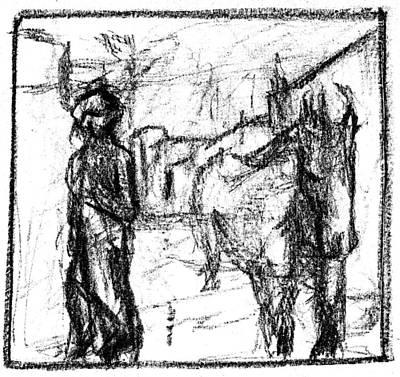 Digital Art - Pencil Squares Black Farm E by Artist Dot