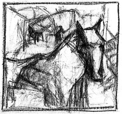 Digital Art - Pencil Squares Black Horse E by Artist Dot