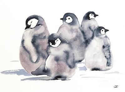 Painting - Penguin Creche by Zaira Dzhaubaeva