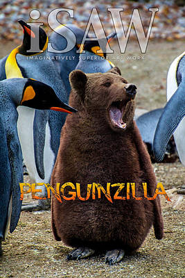 Digital Art - Penguinzilla by ISAW Gallery