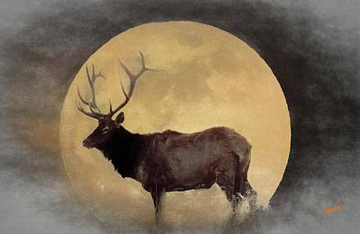 Digital Art - Pennsylvania Bull Elk And A Full Moon. by Rusty R Smith