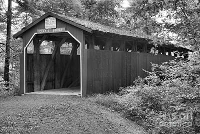 Photograph - Pennsylvania Clay's Covered Bridge Black And White by Adam Jewell