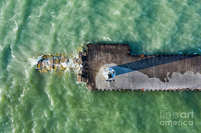 Royalty-Free and Rights-Managed Images - Pentwater Pier Aerial by Twenty Two North Photography