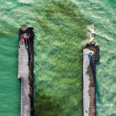 Royalty-Free and Rights-Managed Images - Pentwater Piers Aerial Square by Twenty Two North Photography