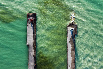 Royalty-Free and Rights-Managed Images - Pentwater Twin Piers Aerial by Twenty Two North Photography