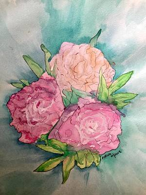 Painting - Peonie Roses by Aingeal Rose