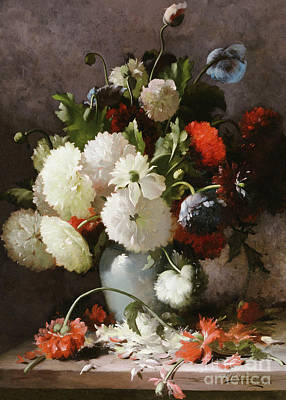 Painting - Peonies On A Stone Ledge, 1886 by Frans Mortelmans