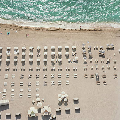 People At Beach, Using Rows Of Beach Art Print by John Humble