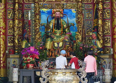 Photograph - People Pray At The Temple In Taiwan by Yali Shi