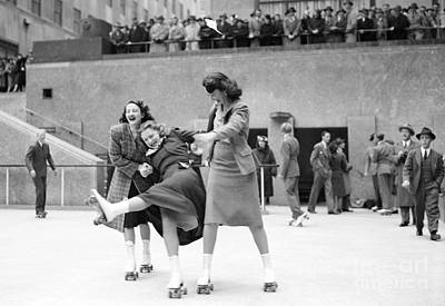 Photograph - People Skating At The Opening Of The by New York Daily News Archive