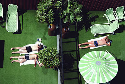Photograph - People Sunbathing On Artificial Grass by Alfred Gescheidt