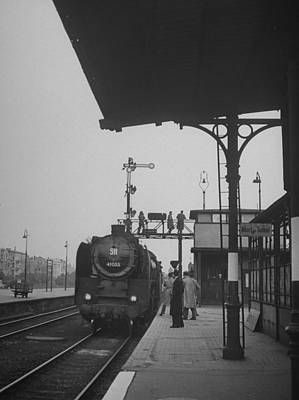 Photograph - People Watching From Platform An Engine by Walter Sanders