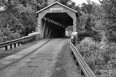 Photograph - Perry County Bistline Covered Bridge Black And White by Adam Jewell