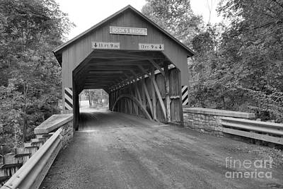 Photograph - Perry County Books Covered Bridge Black And White by Adam Jewell