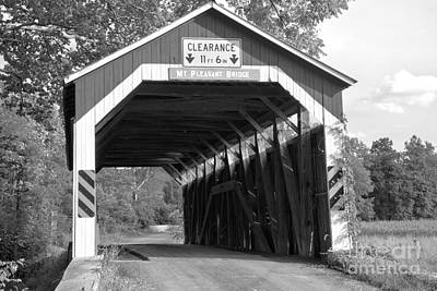 Photograph - Perry County Mt. Pleasant Covered Bridge Black And White by Adam Jewell