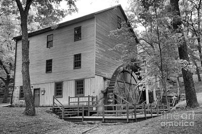 Photograph - Perry County Pa Grist Mill Black And White by Adam Jewell