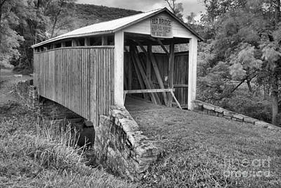 Photograph - Perry County Red Covered Bridge Black And White by Adam Jewell