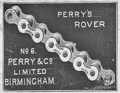 Nikki Vig Digital Art - Perry Rover Bicycle Chain Vintage Art by Nikki Vig