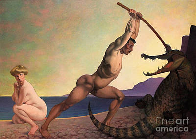 Painting - Perseus Slaying The Dragon by Felix Edouard Vallotton
