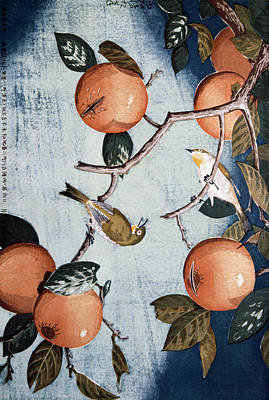 Painting - Persimmons And White-eye Birds By by Superstock