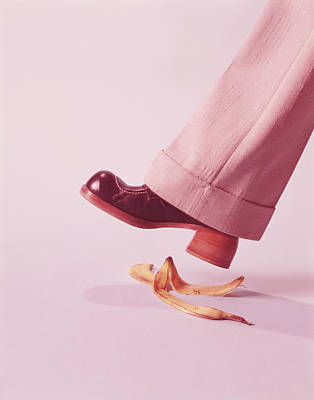 Person About To Step On Banana Skin Art Print by H. Armstrong Roberts