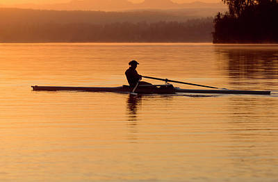 Person Rowing Sculling Boat On River Art Print by Pete Saloutos