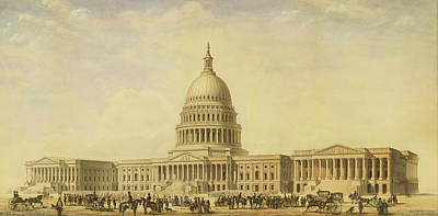 Drawing - Perspective Rendering Of United States Capitol by Thomas Ustick Walter