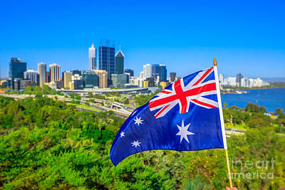 Photograph - Perth Skyline With Australian Flag by Benny Marty