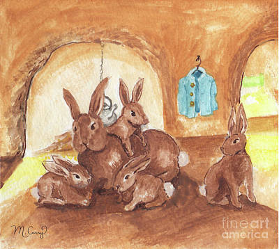 Painting - Peter Rabbit in his Sand Bank Home by Michelle Curry