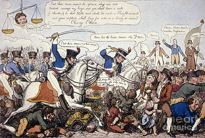 Photograph - Peterloo Massacre, 1819 by George Cruikshank