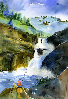 Painting - Petroglyph Falls Fishing by Joan Chlarson